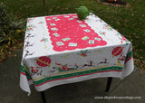 Vintage Tablecloth Christmas Santa in Hot Air Balloon and More