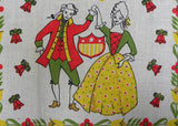 MWT Parisian Prints 1976 Bicentennial 1776 Colonial Couple Tea Towel - The Pink Rose Cottage