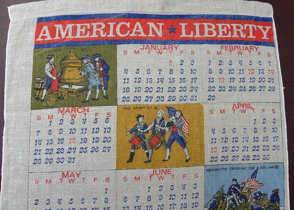 Tagged Vintage American Liberty 1976 Patriotic Calendar Tea Towel - The Pink Rose Cottage