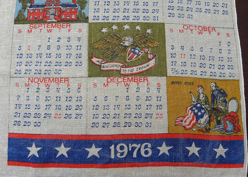 Tagged Vintage American Liberty 1976 Patriotic Calendar Tea Towel