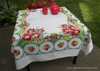 Flowers and Fruit Plate Vintage Tablecloth Strawberries Cherries Apples and More