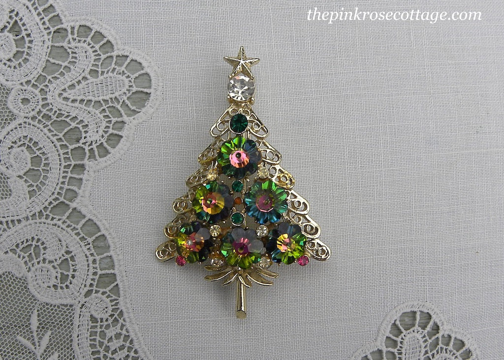 Vintage Watermelon Rhinestone Christmas Tree Pin