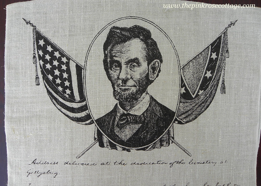 Vintage Abraham Lincoln Gettysburg Address Patriotic Tea Towel - The Pink Rose Cottage