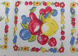 Vintage Tablecloth with Strawberries Peaches Cherries Sunflowers Daisies and More