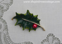 Vintage Gerry's Enameled Christmas Holly Pin