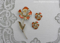 Vintage BSK Rhinestone and Enameled Clematis Flower Pin Brooch and Earrings Set