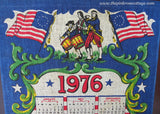 Vintage Patriotic 1976 Calendar Tea Towel Red White Blue