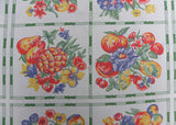 Vintage Cream and Green Apples  Cherries Peaches Fruits Flowers Tablecloth