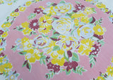 Vintage Tablecloth Stylized Soft Blue Roses with Pink Yellow Flowers