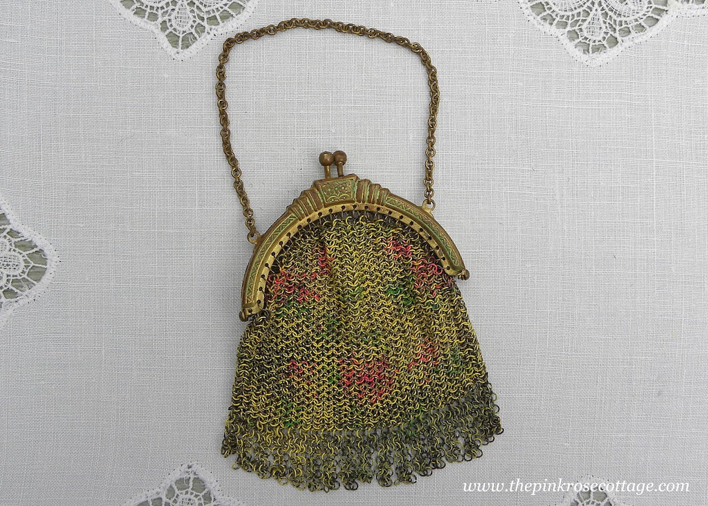 Antique Childs Doll Painted Mesh Purse with Roosevelt Play Money