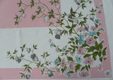 1950's Vintage Tablecloth with Pink and Turquoise Asters and Japanese Lanterns - The Pink Rose Cottage