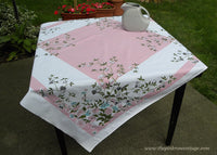 1950's Vintage Tablecloth with Pink and Turquoise Asters and Japanese Lanterns