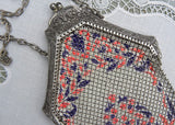 Antique 1920's Mandalian Mfg  Pink and Purple Enamel Metal Mesh Flapper Purse Handbag