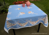 Vintage Tablecloth with Bridal Bouquets and Handkerchief Pink Violets Swag on Blue