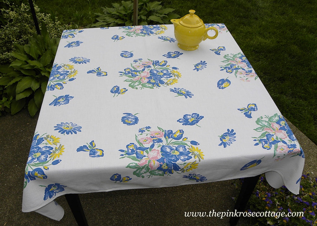 Tagged Thomaston Pedigree Iris Tulips Bachelor Button and More Vintage Tablecloth - The Pink Rose Cottage