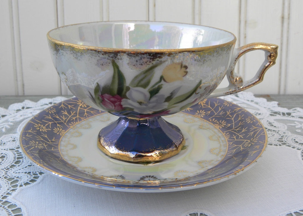 Vintage Pedestal Teacup and Saucer White Roses and Pink Tulips