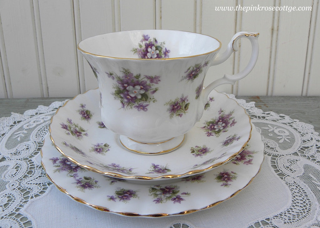 Vintage Royal Albert Sweet Violets Teacup Saucer and Dessert Plate