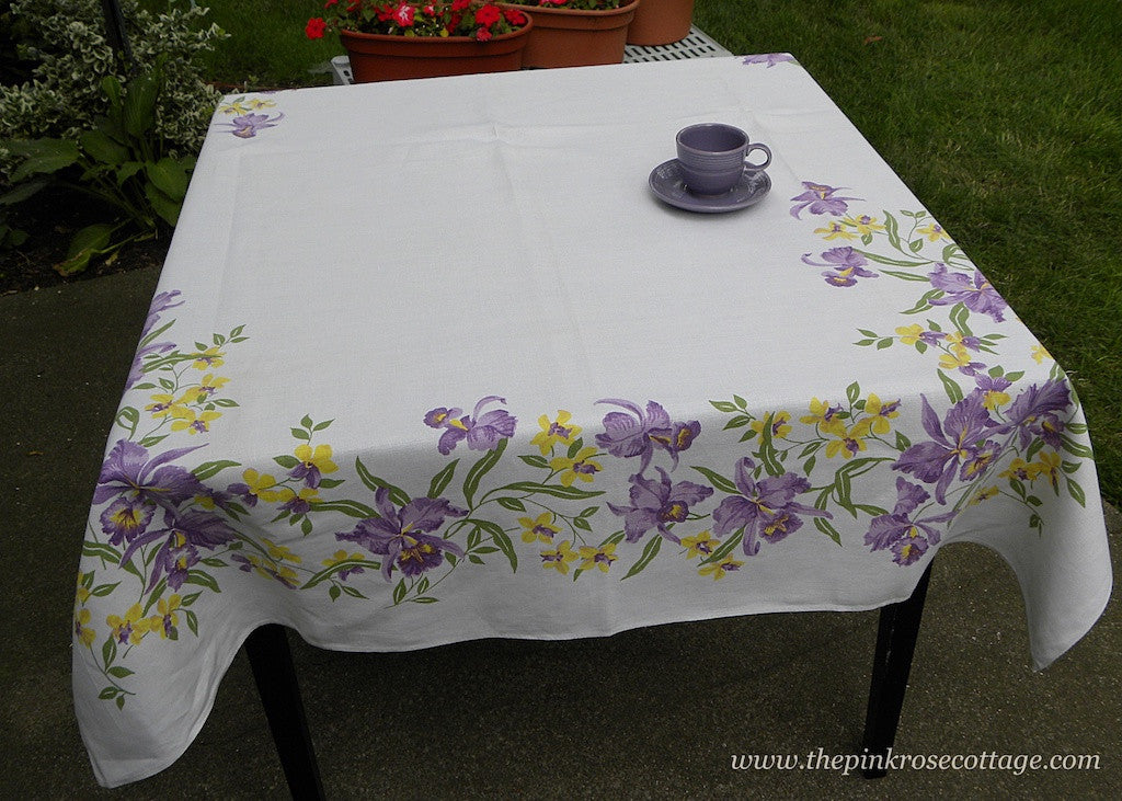 Large Vintage Linen Tablecloth with Exotic Purple and Yellow Orchids