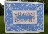 Vintage Lily of the Valley Daisies Asters Blue and Pink Tablecloth
