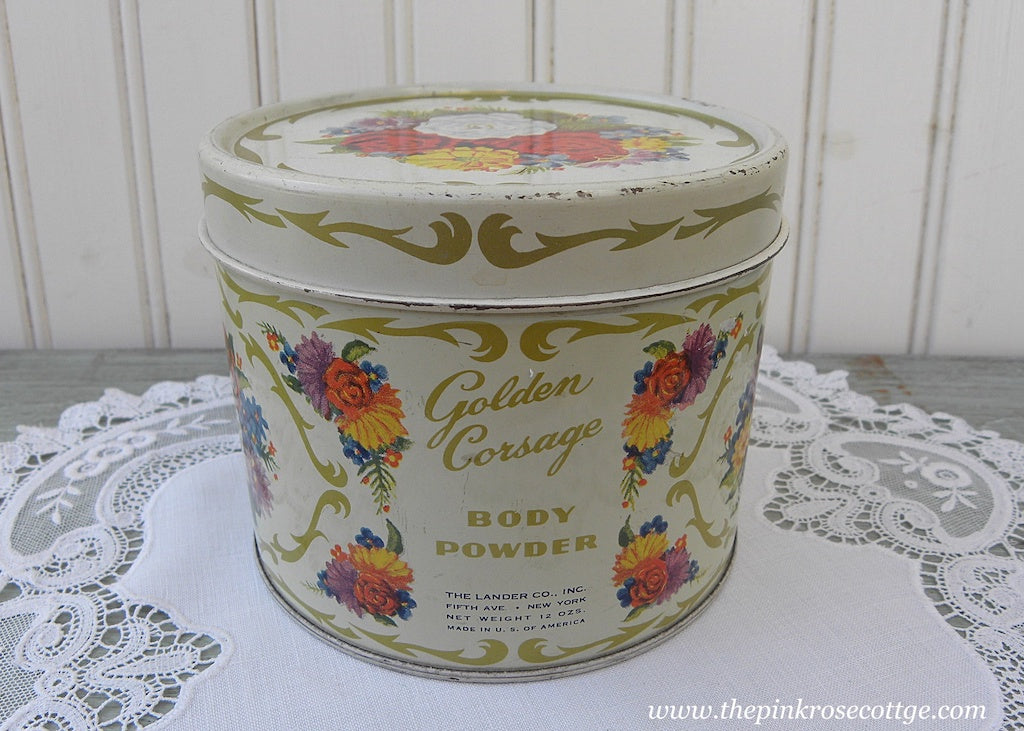 Vintage Vanity Golden Corsage Body Powder Tin with Roses