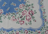 Vintage Callaway Tablecloth Blue with Pink and Purple Roses