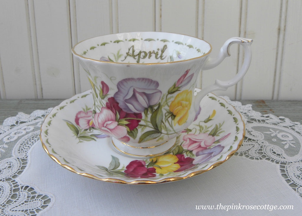Vintage Royal Albert Flower of the Month April Sweet Pea Teacup and Saucer