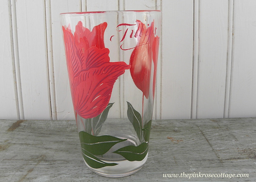 Vintage Boscul Peanut Butter Glasses Tumblers Tulips