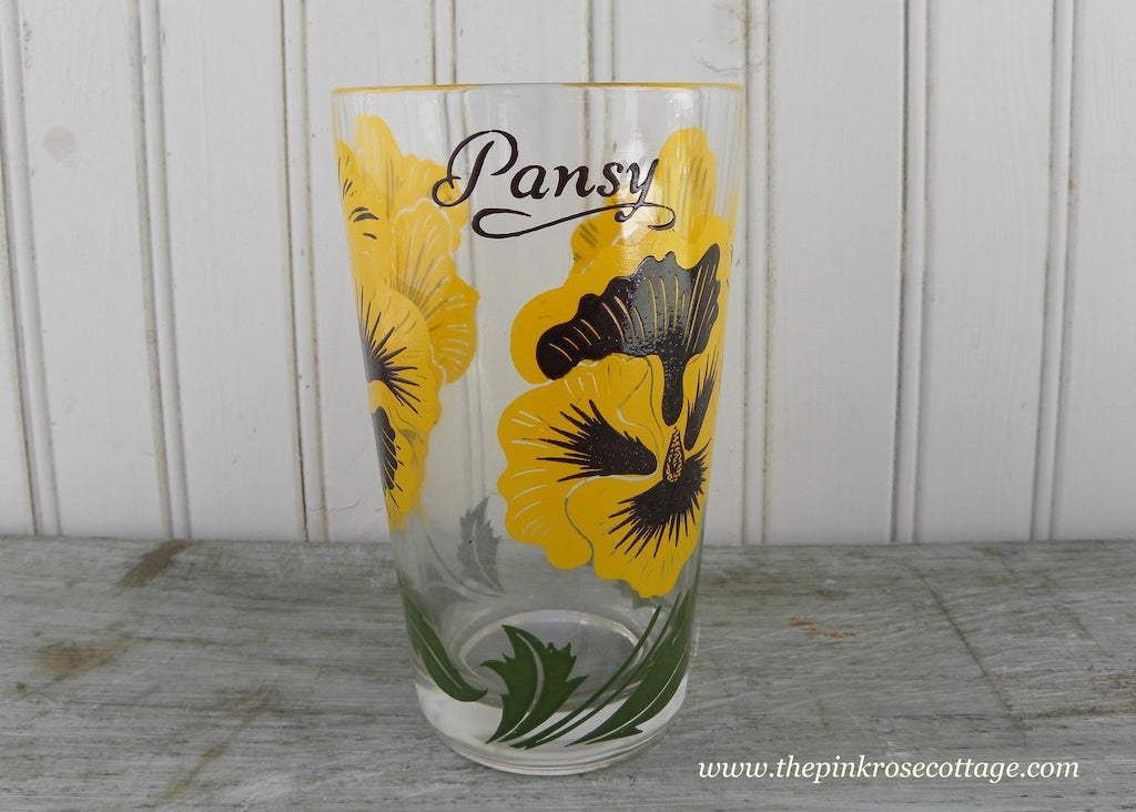 Vintage Boscul Peanut Butter Glasses Tumblers Pansy