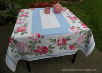 Vintage Tablecloth with HUGE Pink Cabbage Roses on Blue