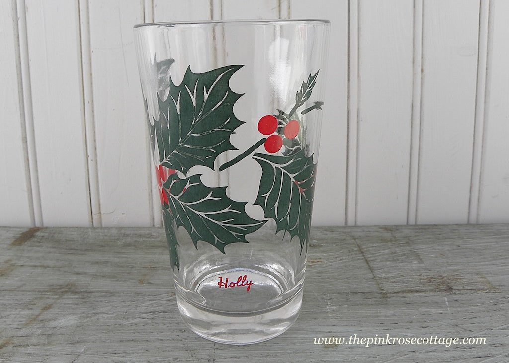 Vintage Boscul Peanut Butter Glasses Tumblers Holly