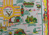 Unused Vintage Souvenir of New Mexico Map Tablecloth - The Pink Rose Cottage