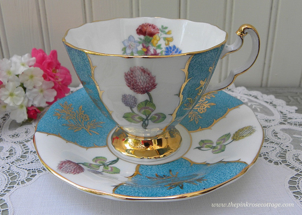 Vintage Adderley Clover Marbled Teal Blue Teacup and Saucer - The Pink Rose Cottage