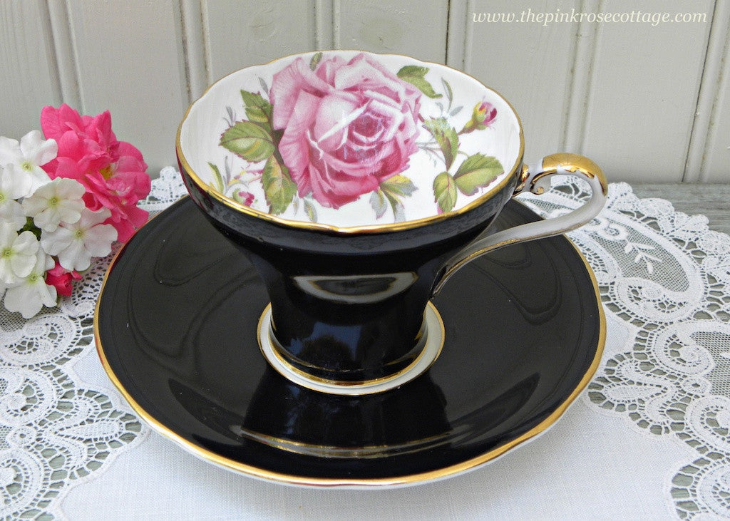 Vintage Aynsley Cabbage Pink Rose Black Corset Teacup and Saucer