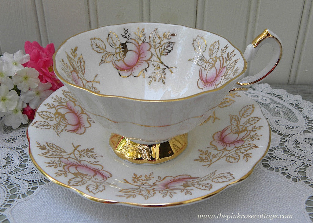 Vintage Queen Anne Pink Rose and Gold Teacup and Saucer