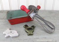 Vintage Doll Childs Kitchen Toys Egg Beater Cookie Cutters Bread Pan