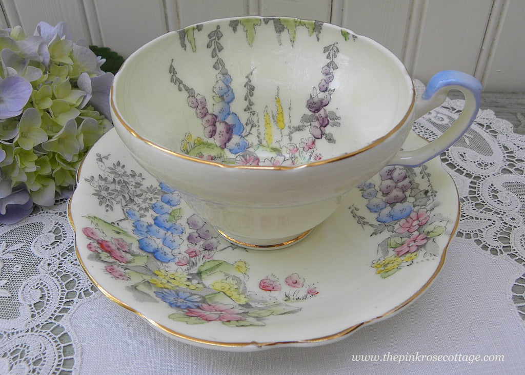 Vintage Foley China Colorful Hollyhocks Teacup and Saucer