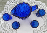 Vintage Doll Child's Cobalt Blue Hobnail Pitcher and Tumblers