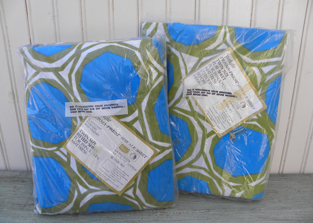 NIP Vintage Perma-Prest Spotlight Green and Blue Twin Fitted and Flat Sheet