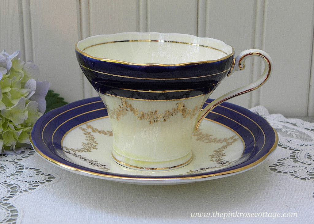 Vintage Aynsley Cobalt Blue and Gold Corset Teacup and Saucer