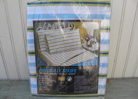 NIP Vintage Perma-Prest Piccadilly Stripe Green and Blue Full Flat Sheet