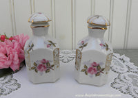 Pair Vintage Porcelain Pink Roses and Rosebuds Perfume Bottles - The Pink Rose Cottage