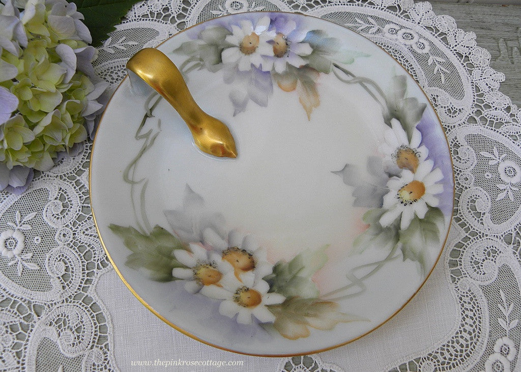 Vintage Hand Painted Daisies Handled Bonbon Candy Plate