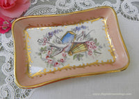 Vintage Hand Painted Wedding Doves and Pink Roses Trinket Ring Dish