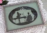 Vintage Framed Silhouette Teal Green 18th Century Couple Playing Piano Picture