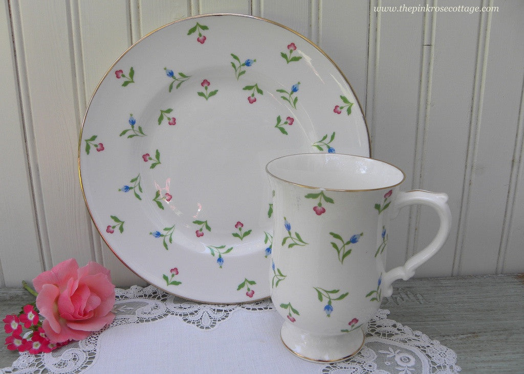 Vintage Royal Victoria Tea Coffee Mug and Luncheon Plate Pink and Blue Rosebuds