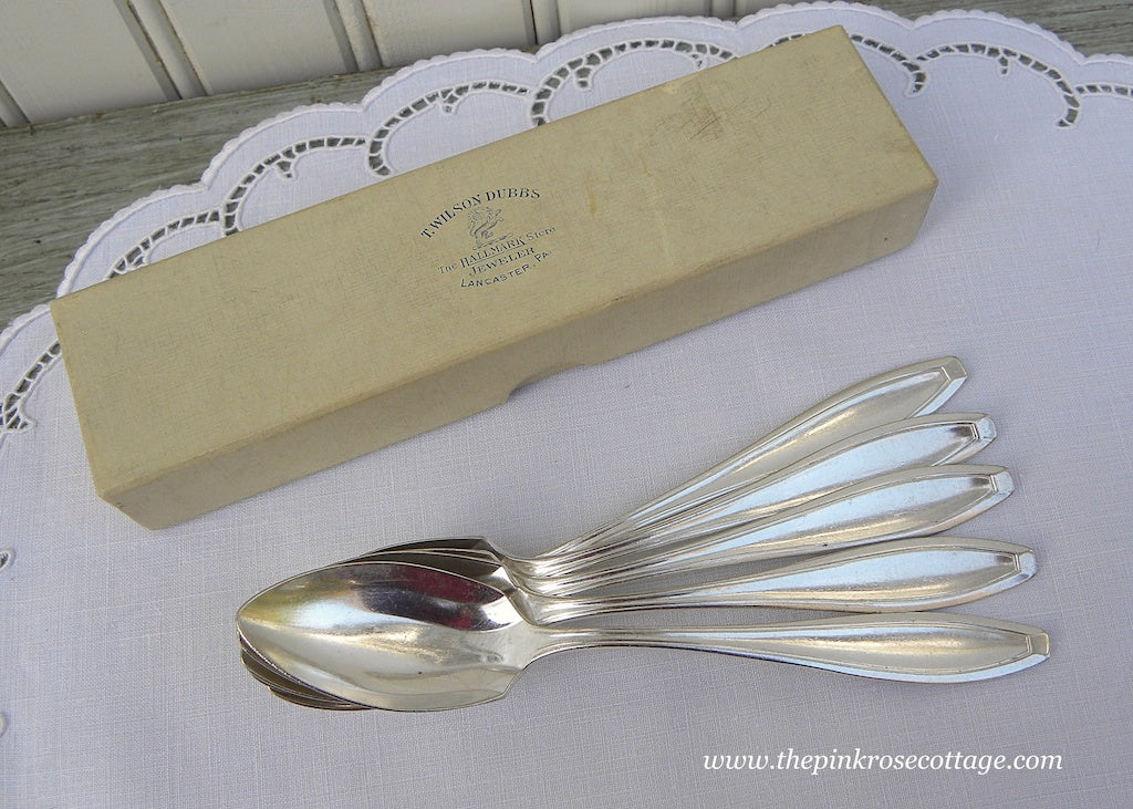 Antique 1910 Silver Plated Dessert Spoons S.L. & G.H. Rogers Adonis/Niagara