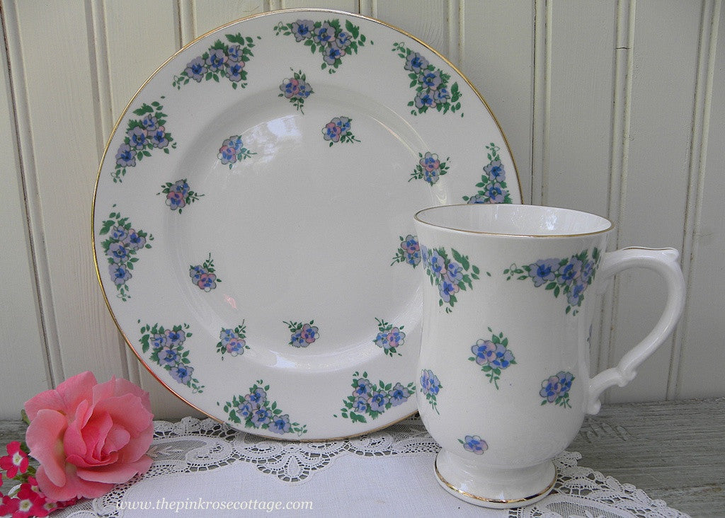 Vintage Royal Victoria Tea Coffee Mug and Luncheon Plate Purple Pansies