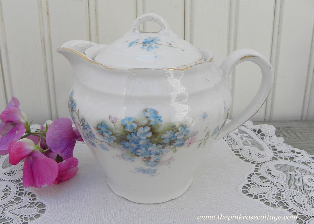 Antique Forget Me Nots Lidded Creamer or Individual Teapot - The Pink Rose Cottage