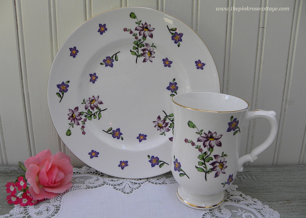 Vintage Royal Victoria Tea Coffee Mug and Luncheon Plate Purple Daisies