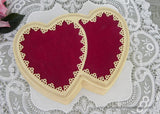 Vintage Double Red Velvet Heart Jewelry Presentation Box